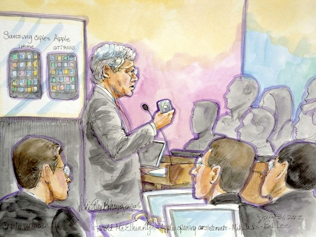Apple attorney McElhinny delivers his opening statement in trial between Samsung and Apple in San Jose, California